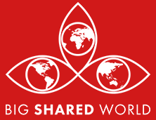 Big Shared World Logo White with Red Background